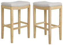 BTEXPERT Shabaz Backless Stools, Linen Beige Fabric Bar Height, Set of 2