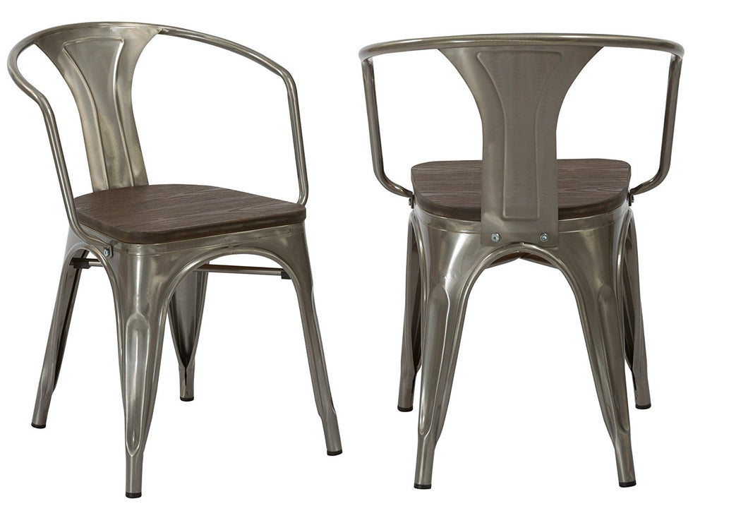 Industrial Gunmetal Rustic Distressed Restaurant Dining Arm Chairs, Set of 2