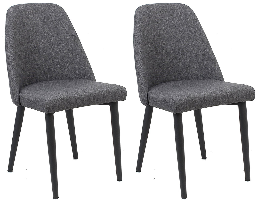 BTExpert Nuha Dining Chairs, Set of 2, Gray upholstery, Dark Metal Legs