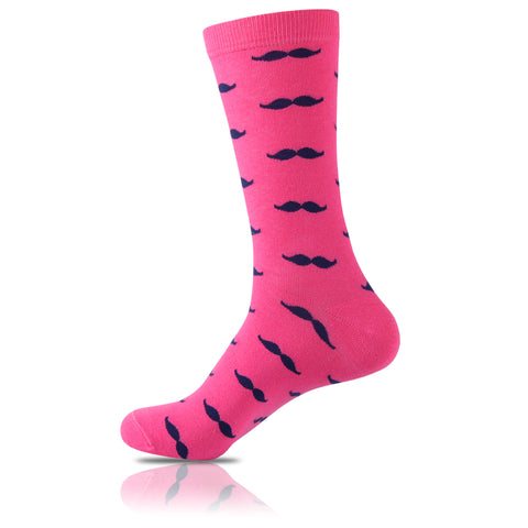 La Moustache Rose // Patterned Socks - Zockz