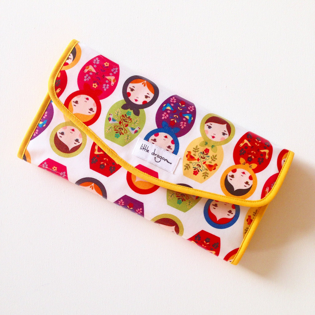 Babushka Dolls and Pink Paisley Baby Change Clutch