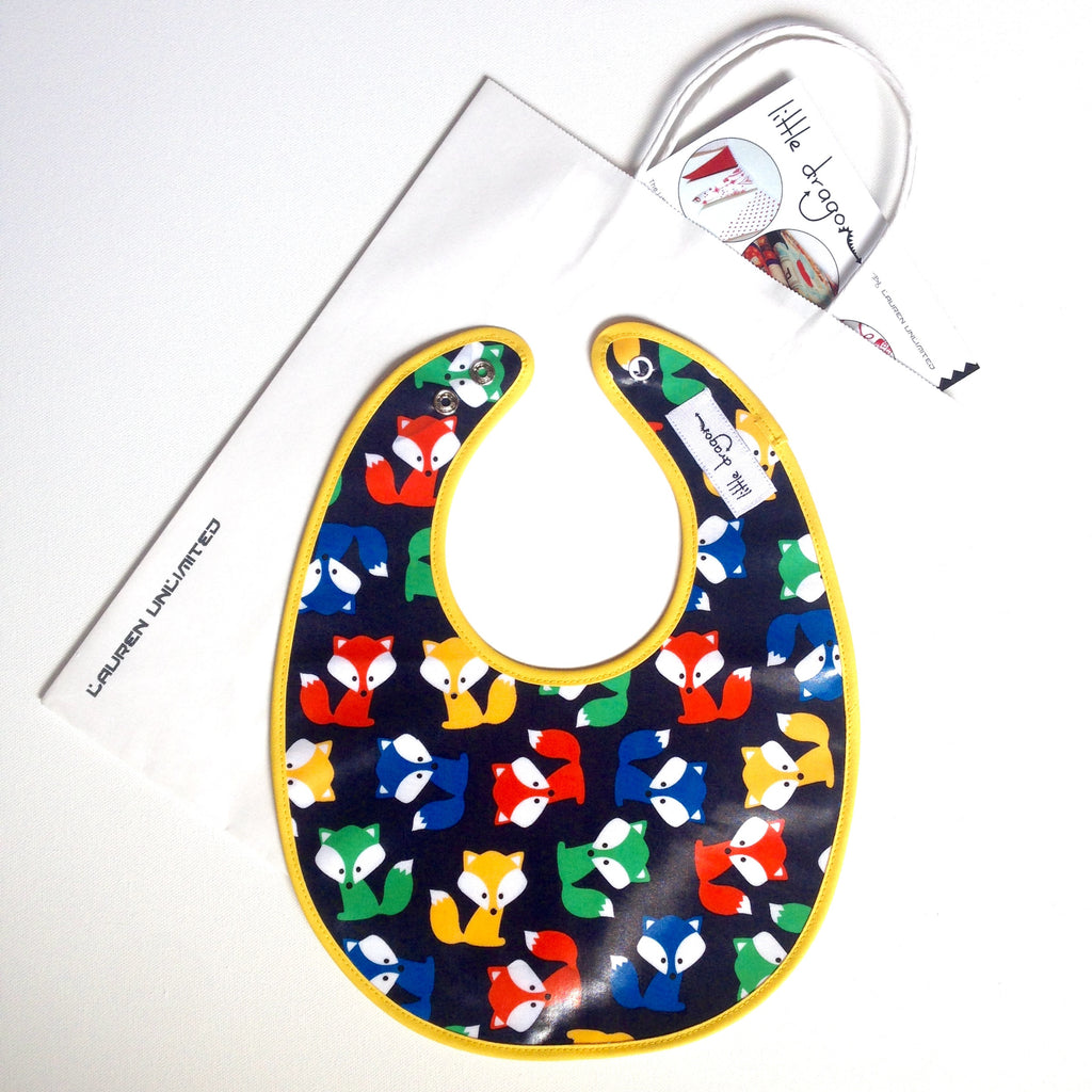 Custom Made Woodland Foxes Laminated Cotton Baby Bib