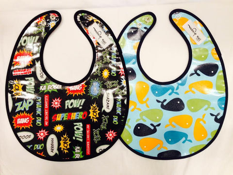 Little Dragon by Lauren Unlimited custom made superhero and whale laminated cotton baby bibs
