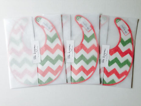Little Dragon by Lauren Unlimited custom made red, green and white chevron laminated cotton baby bibs