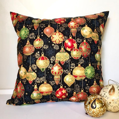 Lauren Unlimited custom made Black, Red and Gold metallic Christmas Bauble cushion