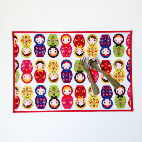 Little Dragon by Lauren Unlimited custom made Babushka Dolls Laminated Cotton placemat.