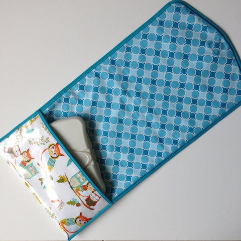 Little Dragon by Lauren Unlimited custom made laminated cotton owl and geometric change mat clutch with storage pocket