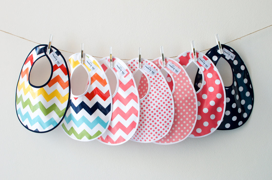 Little Dragon by Lauren Unlimited Laminated Cotton Baby Bibs in Chevron and Polka Dot patterns