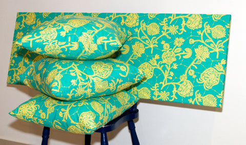 Lauren Unlimited custom made fabric wall art and matching cushions featuring Amy Butler Lark fabric in turquoise