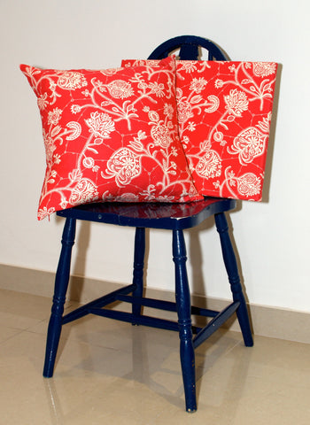 Lauren Unlimited custom made fabric wall art and matching cushion featuring Amy Butler Lark fabric in coral