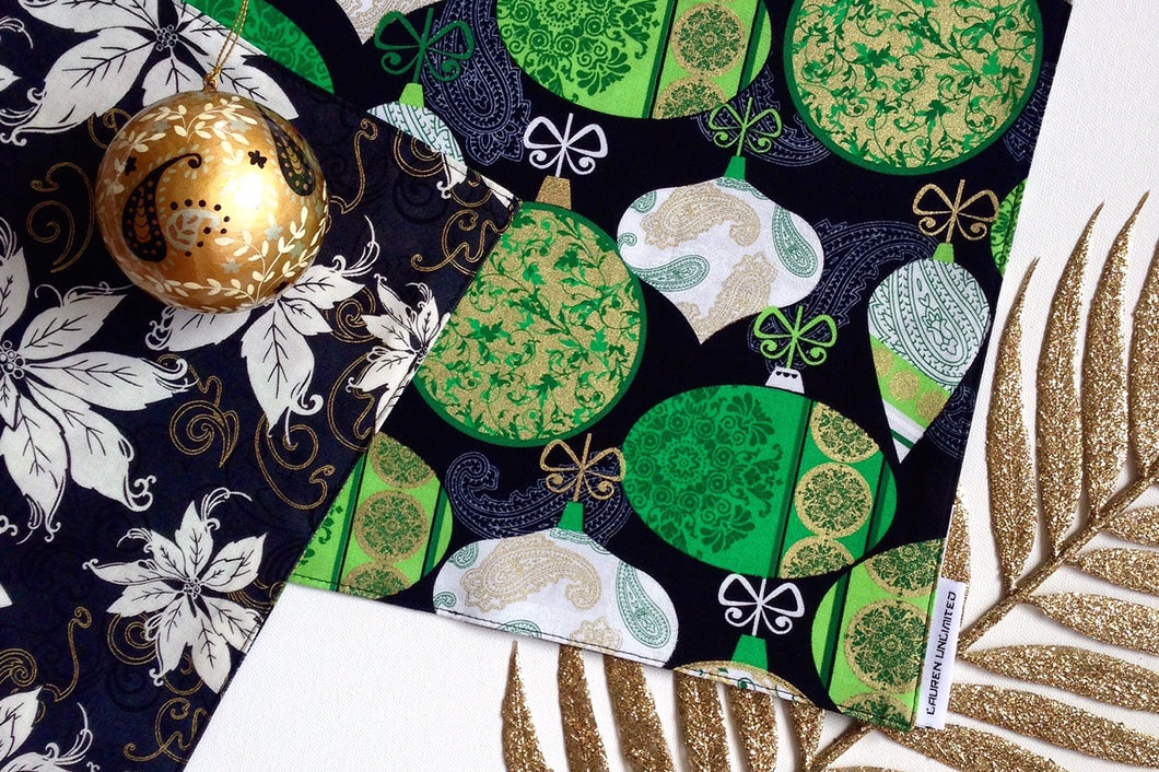 Lauren Unlimited Christmas Table Runner in Green, Black and Metallic Gold