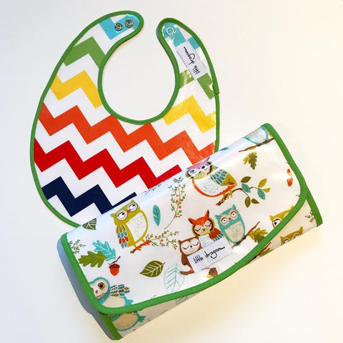 Little Dragon by Lauren Unlimited custom made laminated cotton rainbow chevron bib and owl change mat clutch