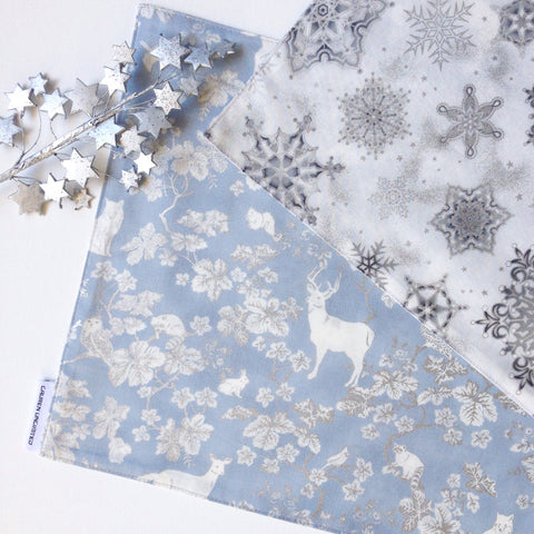 Lauren Unlimited Reversible White and Metallic Silver Snowflakes with Glacier Blue Grey and Metallic Silver Woodland Animals Christmas Table Runner