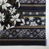Lauren Unlimited Reversible Black, White, Grey and Metallic Gold Stripes with Black, White and Gold Poinsettia Christmas Table Runner close up image