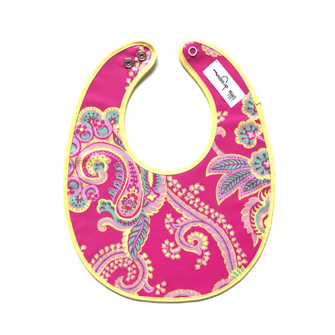 Little Dragon by Lauren Unlimited pink and yellow paisley floral laminated cotton baby bib