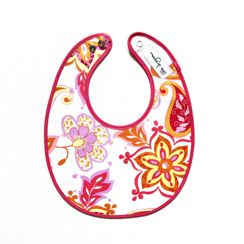Little Dragon by Lauren Unlimited white and pink paisley floral laminated cotton baby bib