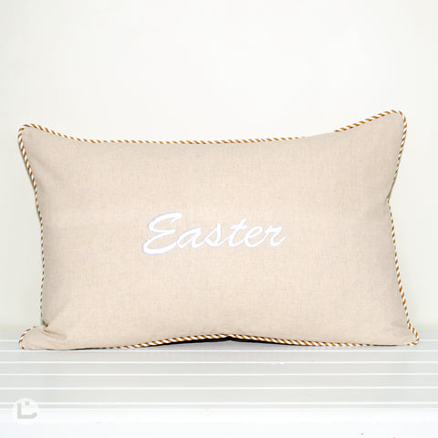Easter Embroidered Natural Cotton Linen Rectangle Cushion Cover