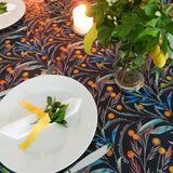 Wattle Australian Floral Tablecloth in Dark Ash Blue with Golden Yellow Wattle and Green Eucalyptus Leaves