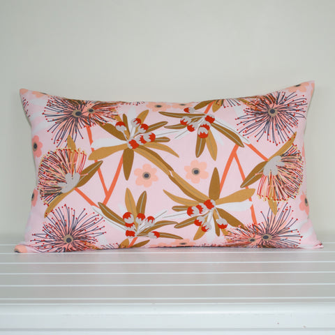 Australian Native Floral Penda Blossom Pink and Tan Rectangle Cushion Cover