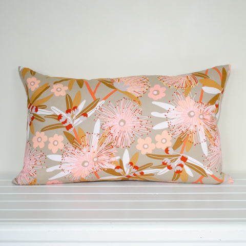 Australian Native Floral Penda Blossom Taupe and Pink Rectangle Cushion Cover