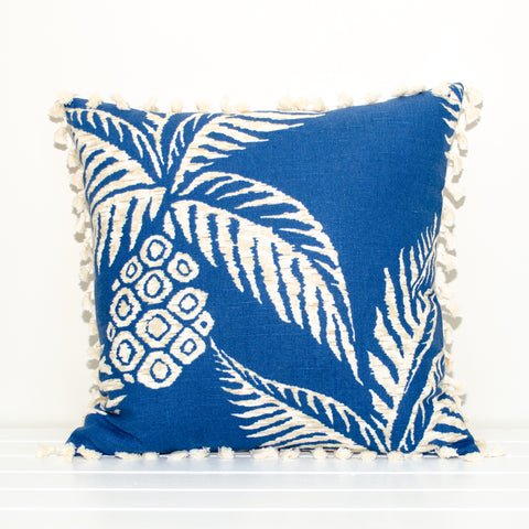 Blue and Cream Pineapple Tassel Cushion Cover