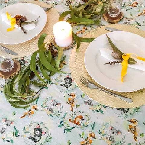 Australian Animals Tablecloth in Pale Blue and Green with Wattle and Eucalyptus, Koalas, Kookaburras, Platypus' and Tasmanian Devils