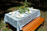 Eucalyptus Tablecloth in White with Green Leaves