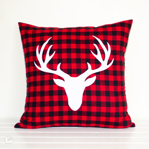 Red and Black Buffalo Plaid Stag Head Christmas Cushion Cover