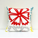 Lauren Unlimited Poppy Floral Red, Yellow, Grey and Teal Cushion Cover showing large red flower
