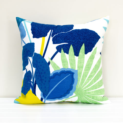 Lauren Unlimited Costa Rica Blue, Yellow, Green and White Botanical Tropical Leaves Indoor/Outdoor Cushion Cover