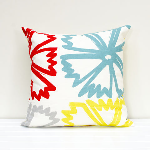 Lauren Unlimited Poppy Floral Red, Yellow, Grey and Teal Cushion Cover