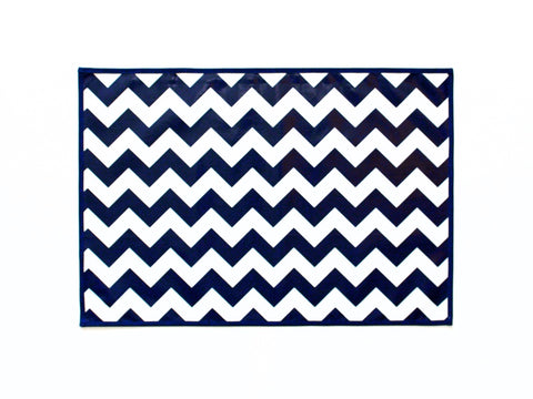 Lauren Unlimited navy and white laminated cotton placemat