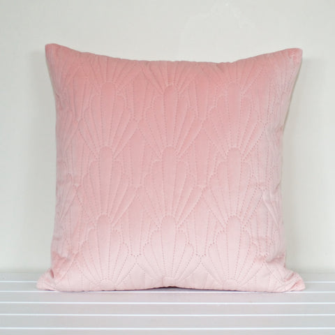 Shell Quilted Velvet Dusty Pink Cushion Cover