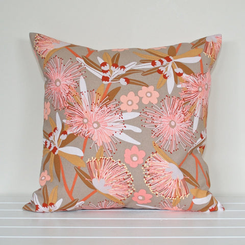 Australian Native Floral Penda Blossom Taupe and Pink Cushion Cover