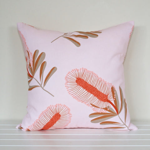 Australian Native Flora Bottlebrush Pale Pink Cushion Cover