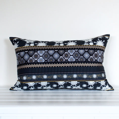 Black, Gold, White and Grey Snowflake Striped and Poinsettia Christmas cushion cover