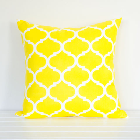 Lauren Unlimited Yellow & White Geometric Trellis Indoor/Outdoor Cushion Cover