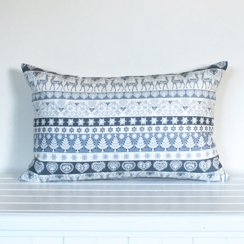 Lauren Unlimited Grey and Cream Christmas Striped cushion cover