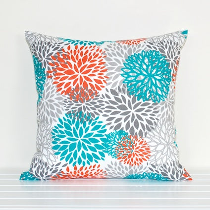 Lauren Unlimited Coral, Turquoise, Grey, Charcoal and White Blooms Indoor/Outdoor Cushion Cover