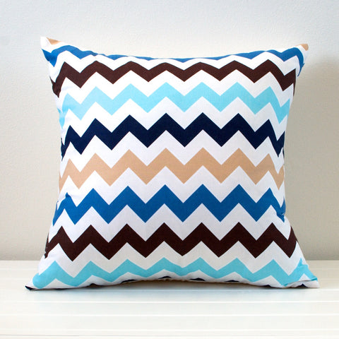 Lauren Unlimited Blue, Navy, Beige and Cream Sand and Sea Chevron Cushion Cover