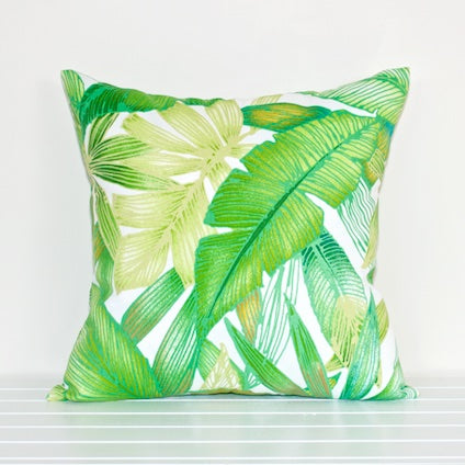 Lauren Unlimited Green and White Tropical Palm Leaves Indoor/Outdoor Cushion Cover