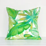 Lauren Unlimited White and Green Tropical Palm Leaves Indoor/Outdoor Cushion Cover