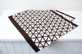 Lauren Unlimited Dark Chocolate and White Geometric Cross Hatch Table Runner