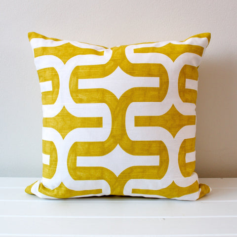 Lauren Unlimited Citrus Yellow Artist Brush Stroke Geometric Cushion Cover