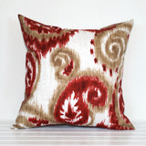 Red and sand paisley outdoor cushion handmade by Lauren Unlimited