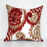 Red and Sand paisley ikat outdoor cushion