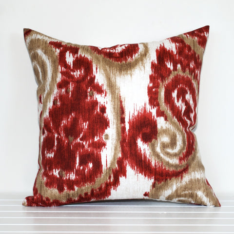 Lauren Unlimited Crimson Sand Paisley Ikat Outdoor Cushion