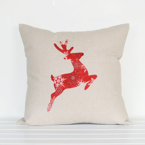 Lauren Unlimited Prancer Reindeer Christmas Cushion Cover in Natural Linen Cotton Blend with Red and Metallic Silver Appliqué