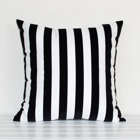 Lauren Unlimited Black and White Flocked Stripe Cushion Cover