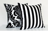 Lauren Unlimited Black and White Flocked Stripe Cushion Cover and Damask Flocked Cushion Cover